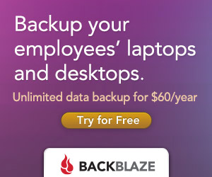Backup your employees laptops and desktops. Unlimited data backup for sixty dollars a year